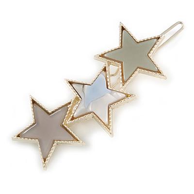 Gold Tone Triple Star Light Grey Hair Slide/ Grip - 65mm Across