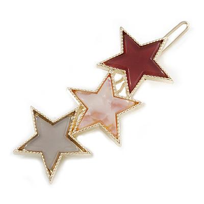 Gold Tone Triple Star Pink/ Grey Hair Slide/ Grip - 65mm Across
