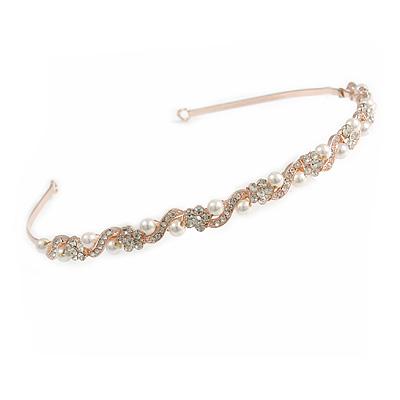 Bridal/ Wedding/ Prom Rose Gold Tone Clear Crystal, White Pearl Flowers Tiara Headband