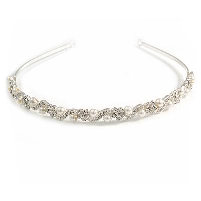 Bridal/ Wedding/ Prom Silver Tone Clear Crystal, White Pearl Flowers Tiara Headband