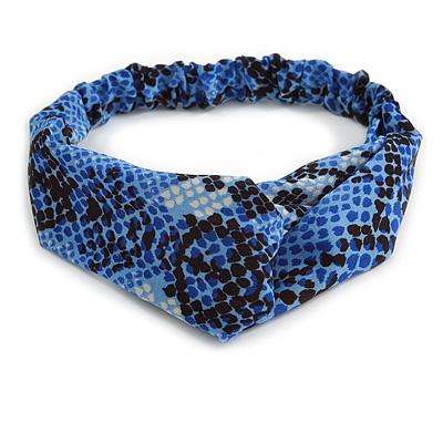 Blue/ Black Snake Print Twisted Fabric Elastic Headband/ Headwrap