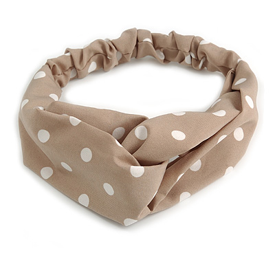 Beige and White Polka-Dotted Twisted Fabric Elastic Headband/ Headwrap