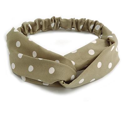 Khaki Green and White Polka-Dotted Twisted Fabric Elastic Headband/ Headwrap