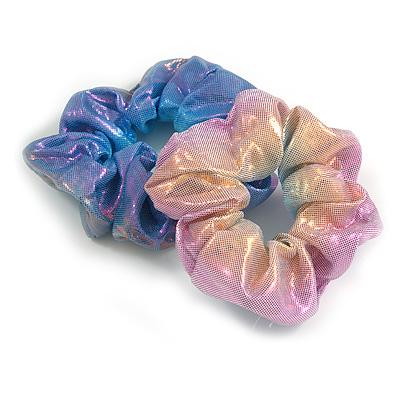 Pack Of 2 Light Chameleon Blue/ Pink Snake Effect Silk Hair Scrunchies - Medium Thickness Hair