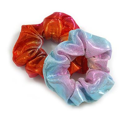 Pack Of 2 Light Chameleon Orange/ Red/ Pink/ Light Blue Snake Effect Silk Hair Scrunchies - Medium Thickness Hair