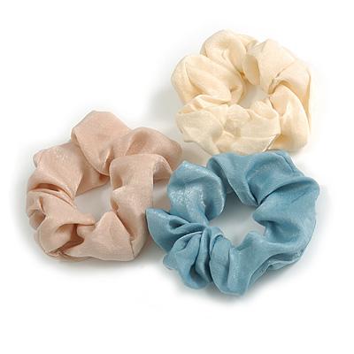 Pack Of 3 Pastel Blue/ Cream/ Beige Satin Hair Scrunchies - Medium Thickness Hair