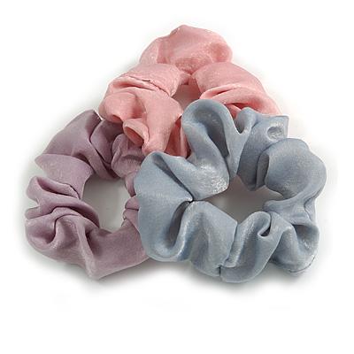 Pack Of 3 Pastel Pink/ Grey/ Purple Satin Hair Scrunchies - Medium Thickness Hair