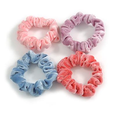 Pack Of 4 Pastel Pink/ Blue/ Purple/ Coral Velvet Hair Scrunchies - Medium Thickness Hair
