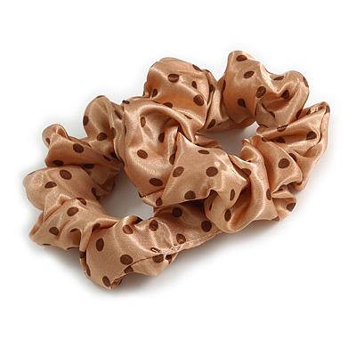 Pack Of 2 Light Caramel/ Brown Polka Dot Silk Hair Scrunchies - Medium Thickness Hair