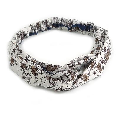 White/ Dark Blue Floral Twisted Fabric Elastic Headband/ Headwrap