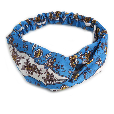 Blue/ White Floral Twisted Fabric Elastic Headband/ Headwrap