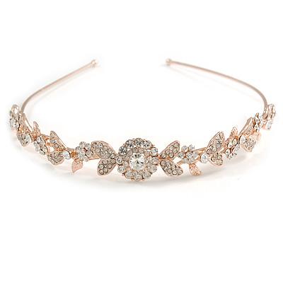 Bridal/ Wedding/ Prom Rose Gold Tone Clear Crystal Floral Tiara Headband