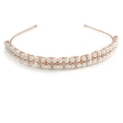 Bridal/ Wedding/ Prom Rose Gold Tone Clear Crystal, Faux White Glass Pearl Tiara Headband