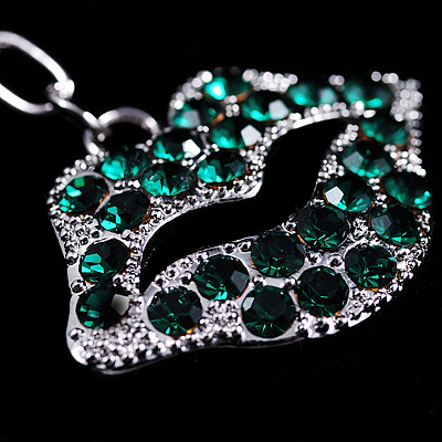 Silver Green Lips Charm Key Ring