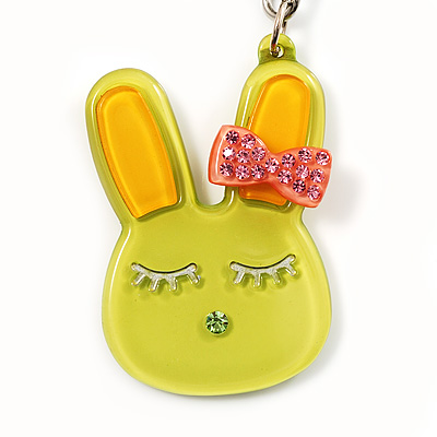 Cute Lettuce Green Plastic Bunny Key-Ring With Crystal Bow - main view