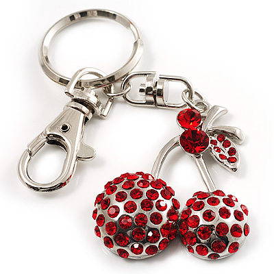 Ruby Red Coloured Diamante Cherry Keyring - main view