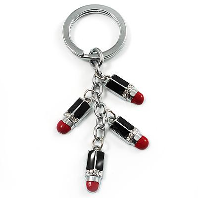 Silver Tone Crystal Enamel Lipstick Keyring/ Bag Charm