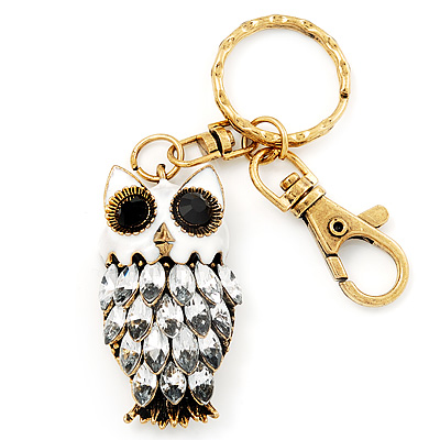 Cute White Enamel Diamante Owl Keyring/ Bag Charm (Burn Gold Plated Metal) - main view