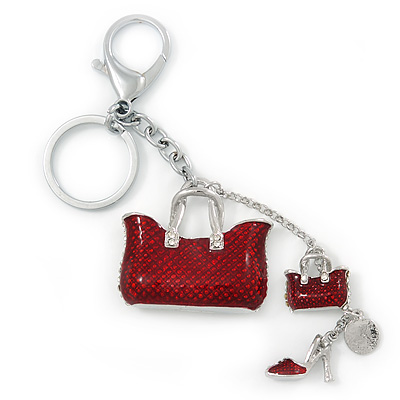 Rhodium Plated Crystal, Dark Red Enamel Puffed Bag, Shoe Keyring/ Bag Charm - 14cm Length
