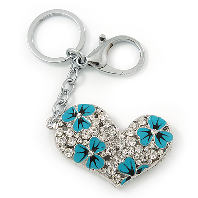 Rhodium Plated Large Clear Crystal, Enamel Flower Heart Keyring/ Bag Charm - 10cm Length