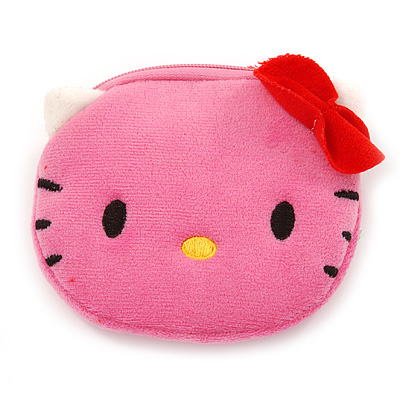 Pink Kitty Fabric Coin Purse/ Bag Charm for Kids - 10.5cm Width
