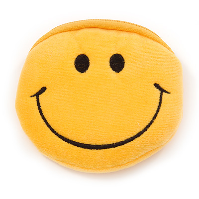 Smiling Face Bright Yellow Fabric Coin Purse/ Bag Charm for Kids - 10.5cm Width