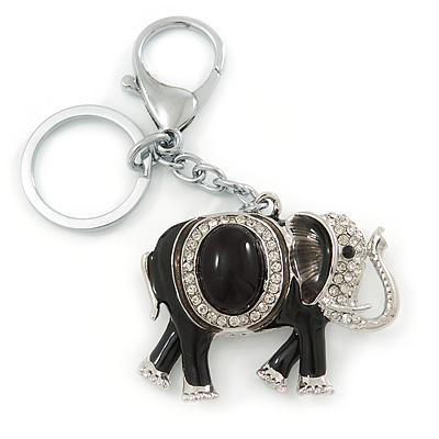 Crystal Black Enamel Elephant Keyring/ Bag Charm In Silver Tone - 12cm L - main view