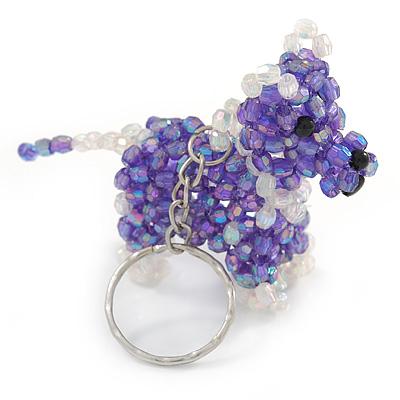 Purple/ Transparent Glass Bead Scottie Dog Keyring/ Bag Charm - 8cm L - main view