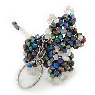 Peacock/ Transparent Glass Bead Scottie Dog Keyring/ Bag Charm - 8cm L - main view