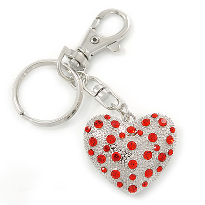 Rhodium Plated Red Crystal Puffed Heart Keyring/ Bag Charm - 100mm L
