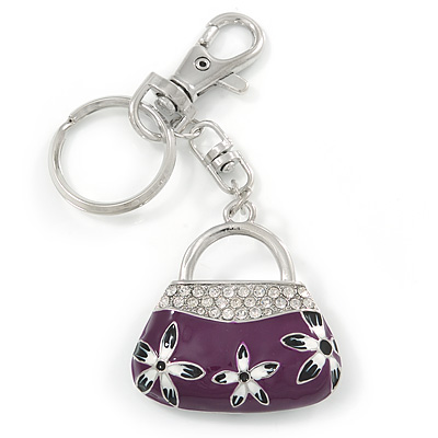 Rhodium Plated Clear Crystal, Violet/ Purple Enamel Puffed Bag Keyring/ Bag Charm - 11cm Length