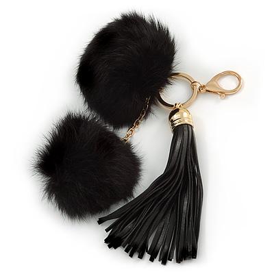 Black Faux Fur Pom-Pom and Black Faux Leather Tassel Gold Tone Key Ring/ Bag Charm - 21cm L - main view