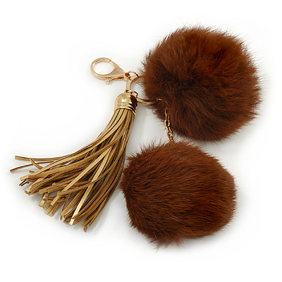 Chocolate Brown Faux Fur Pom-Pom and Light Gold Metallic Faux Leather Tassel Gold Tone Key Ring/ Bag Charm - 21cm L