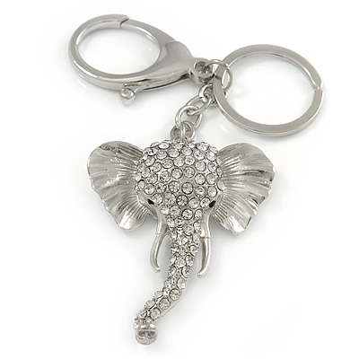 Clear Crystal Elephant Head Keyring/ Bag Charm In Silver Tone - 15cm L