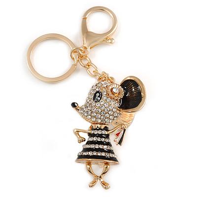 Clear Crystal, Black Enamel Dancing Mouse Keyring/ Bag Charm In Gold Tone Metal - 10cm L - main view