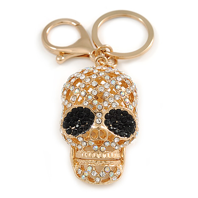 Clear/ Black Crystal Skull Keyring/ Bag Charm In Gold Tone - 10cm L
