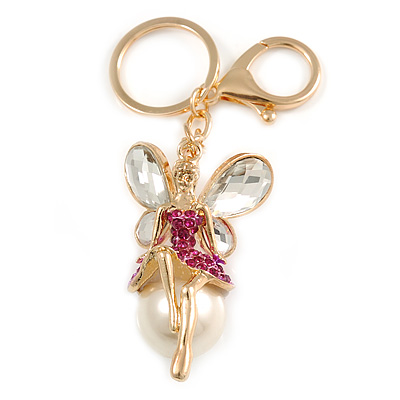 Magenta Crystal White Glass Fairy With Pearl Style Ball Keyring/ Bag Charm In Gold Tone Metal - 10cm L - main view