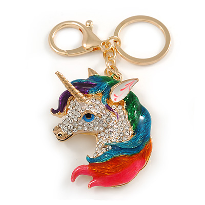 Clear Crystal, Multicoloured Enamel Unicorn Keyring/ Bag Charm In Gold Tone Metal - 10cm L - main view