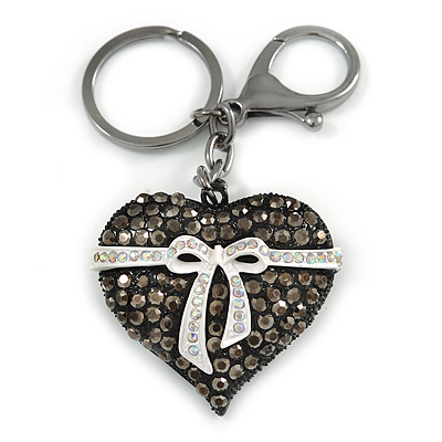 Hematite Crystal with White Enamel Bow Puffed Heart Keyring/ Bag Charm In Black Tone Metal - 10cm L