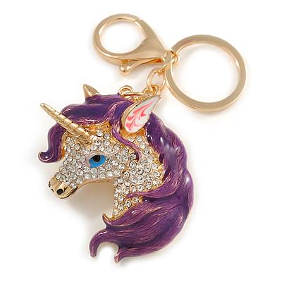 Clear Crystal, Purple Enamel Unicorn Keyring/ Bag Charm In Gold Tone Metal - 10cm L - main view