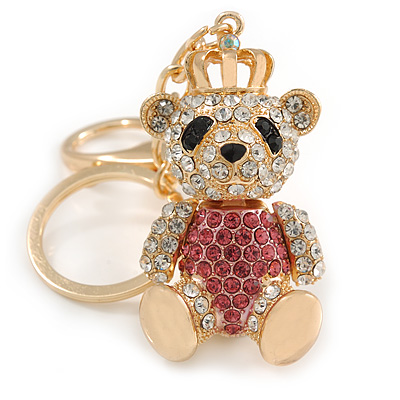 Pink/ Clear Crystal Royal Teddy Bear Keyring/ Bag Charm In Gold Tone Metal - 10cm L