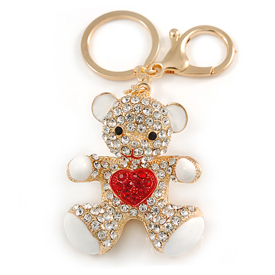 Clear/ Red Crystal White Enamel Teddy Bear Keyring/ Bag Charm In Gold Tone Metal - 10cm L - main view