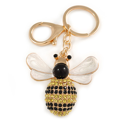 Yellow/ Black Crystal, White/ Black Enamel Bee Keyring/ Bag Charm In Gold Tone Metal - 9cm L