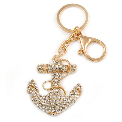 Clear Crystal Anchor Keyring/ Bag Charm In Gold Tone - 10cm L