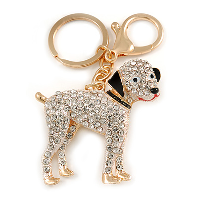 Clear Crystal Dog Keyring/ Bag Charm In Gold Tone Metal - 10cm L
