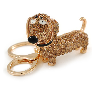 Light Topaz Crystal Badger-Dog Keyring/ Bag Charm In Gold Tone Metal - 7cm L