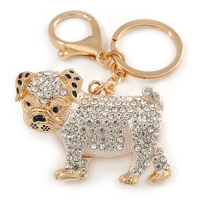 Clear Crystal White/ Black Enamel Bulldog Dog Keyring/ Bag Charm In Gold Tone - 7cm L - main view