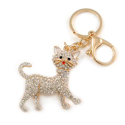Clear Crystal White Enamel Cat Keyring/ Bag Charm In Gold Tone - 9cm L