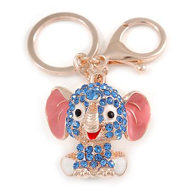 Blue Crystal Pink/ White Enamel Baby Elephant Keyring/ Bag Charm In Gold Tone Metal - 8cm L