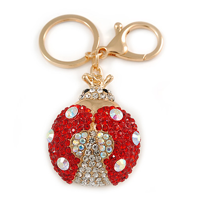 Red/ Ab Crystal Ladybug Keyring/ Bag Charm In Gold Tone Metal - 8cm L - main view